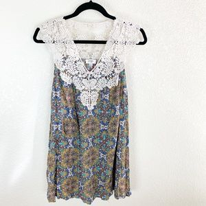 Umgee Crochet Yoke Boho Tunic Dress L